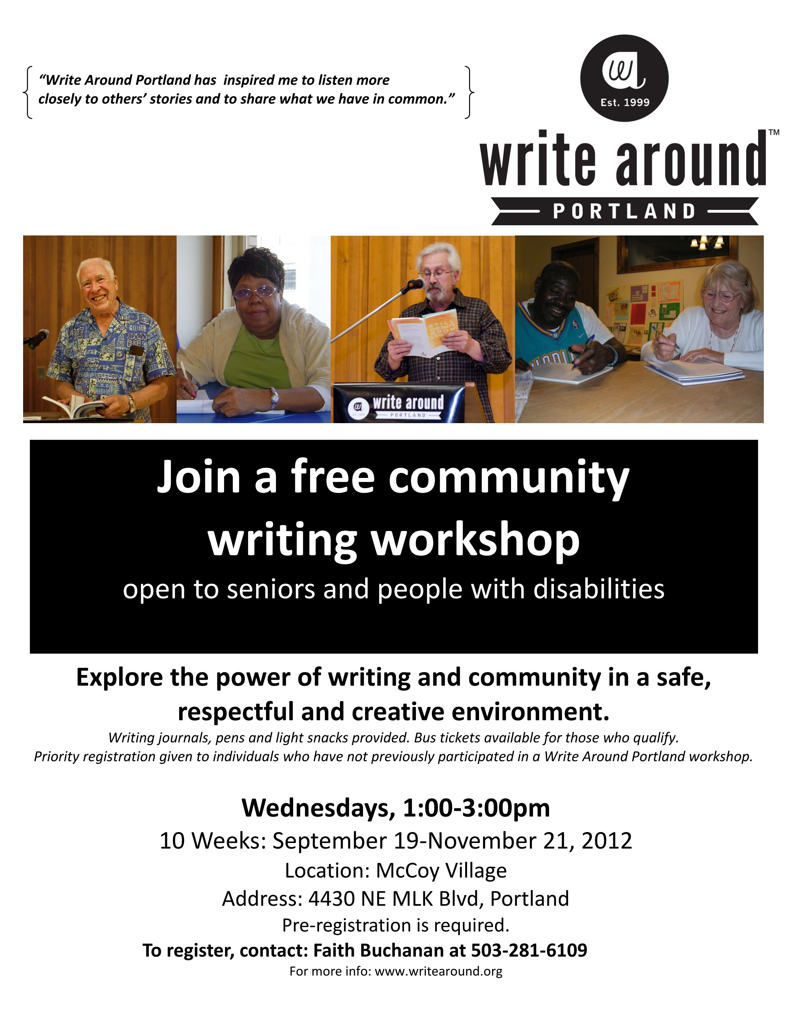 Prompt Writing Workshop by Write Around Portland